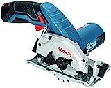 Bosch Professional Akku-Kreissäge GKS 12V-26(2x 2,5 Ah Akku, Ladegerät, Absaugadapter, L-BOXX, 12 Volt, Sägeblatt-Ø: 85 mm, Schnitttiefe max.: 26,5 mm, Gewicht: 1,4 kg)